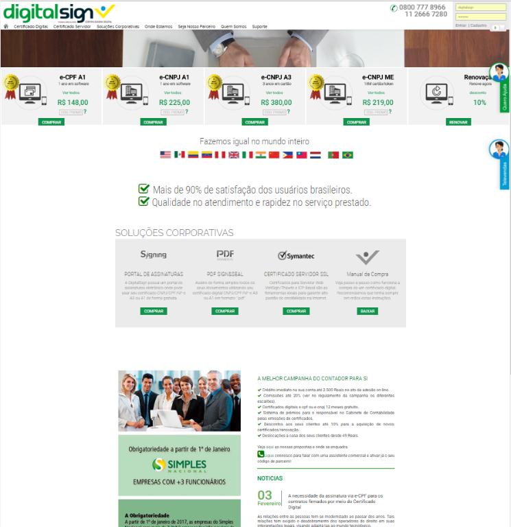 DigitalSign anuncia lançamento do seu novo portal de serviços